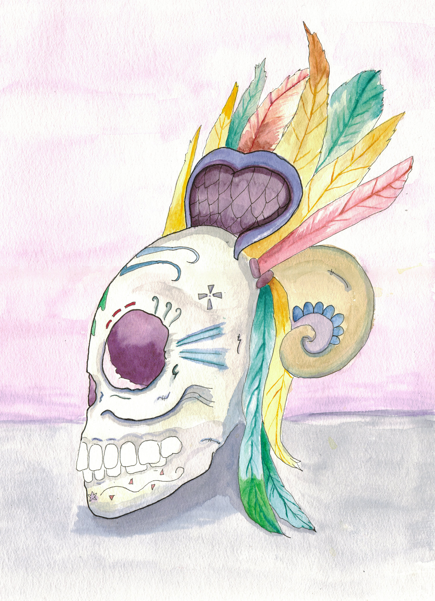 Mexican Aztec Day of the Dead Watercolor Painting for sale