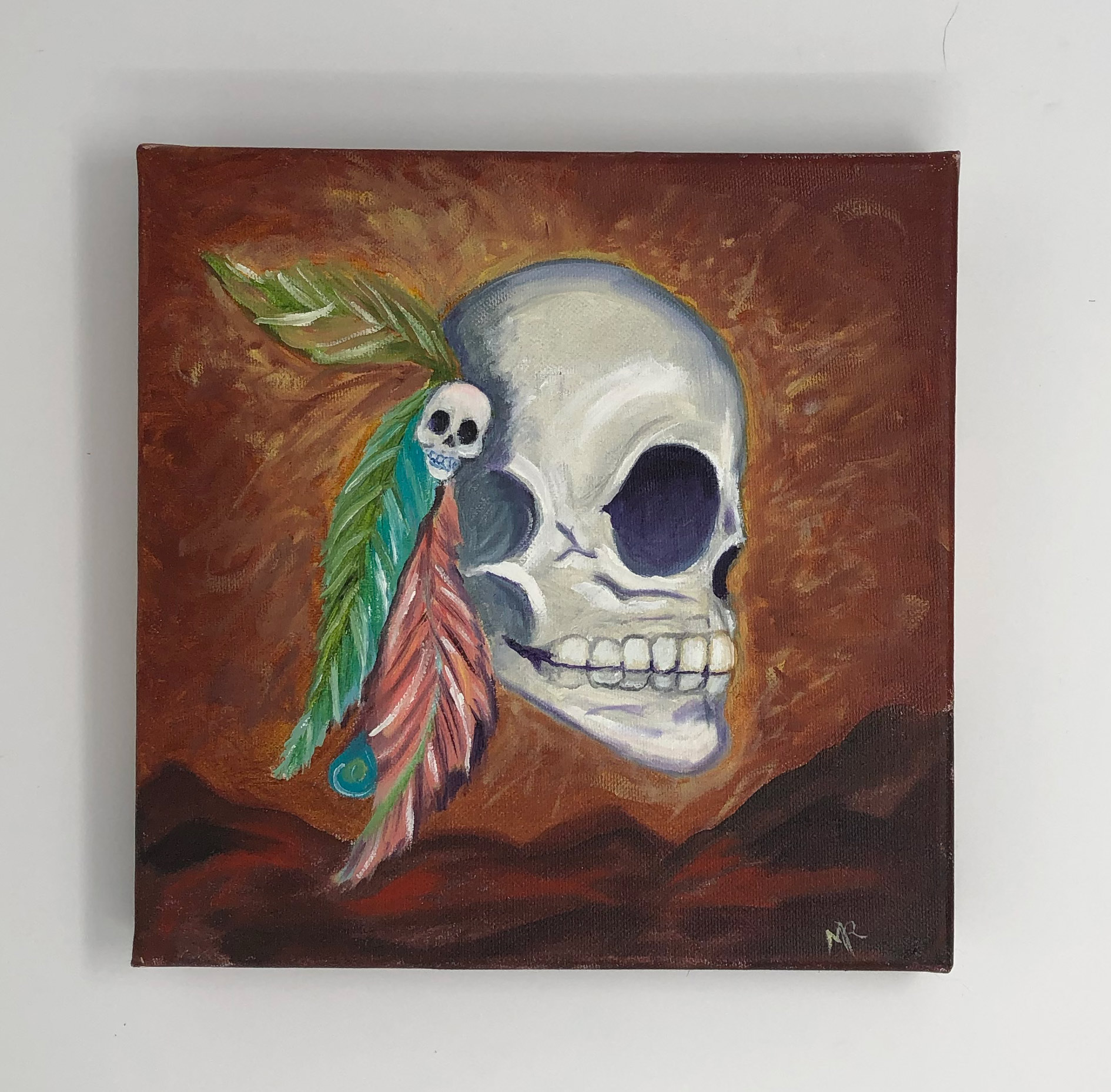 Aztec Indian Day of the Dead Oil Painting for sale
