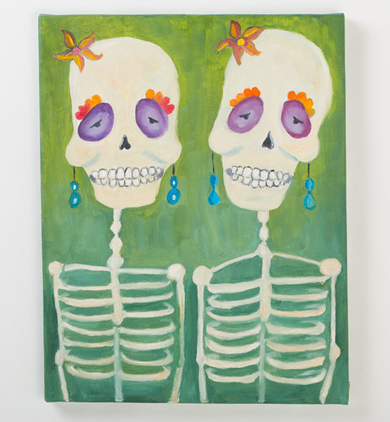 Day of the Dead Oil Painting - Titled Hermanas