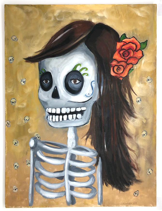 Day of the dead original oil painting
